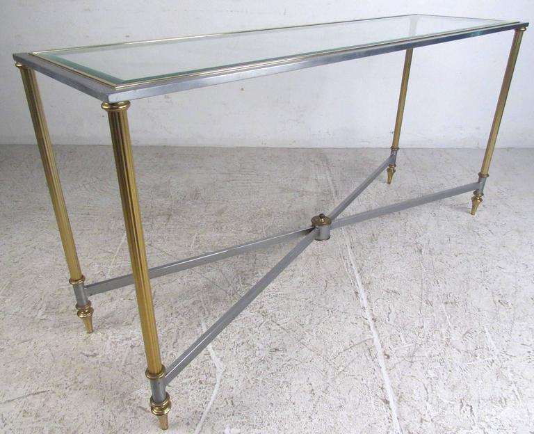 Mid-Century Modern Vintage Brass and Steel Console Table, Mid-Century Maison Jansen Style Table For Sale