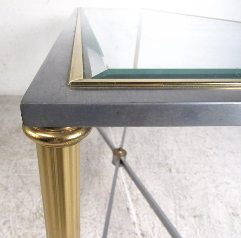 Vintage Brass and Steel Console Table, Mid-Century Maison Jansen Style Table For Sale 1