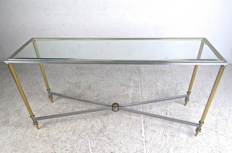 Vintage Brass and Steel Console Table, Mid-Century Maison Jansen Style Table In Good Condition For Sale In Brooklyn, NY