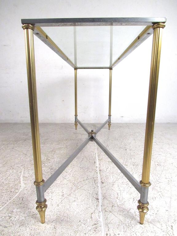 Late 20th Century Vintage Brass and Steel Console Table, Mid-Century Maison Jansen Style Table For Sale