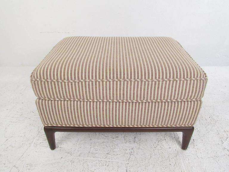 Fabric Mid-Century Modern Lounge Chair with Ottoman after Robsjohn-Gibbings For Sale
