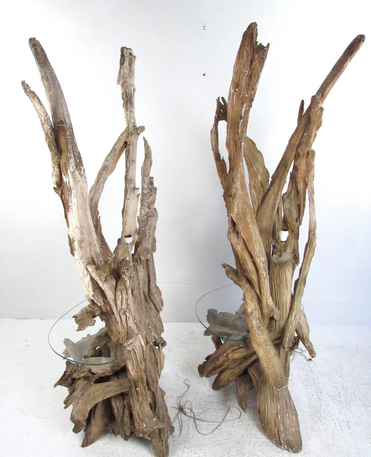 driftwood floor lamps with glass end tables for sale at 1stdibs. Black Bedroom Furniture Sets. Home Design Ideas