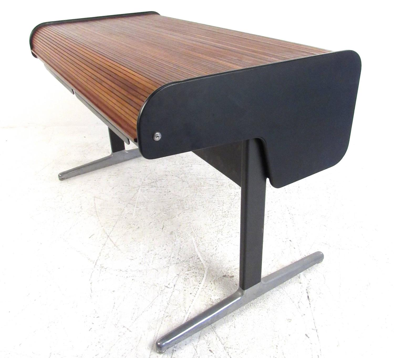 Wonderful image of Mid Century Modern Tambour Roll Top Desk by George Nelson for Herman  with #885A43 color and 1500x1362 pixels