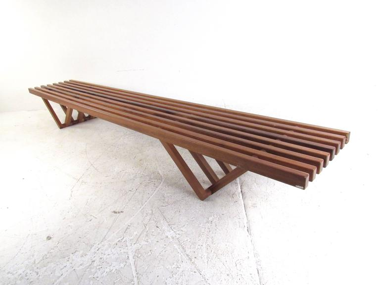 Elegant Rare Mid Century Modern Slat Bench Coffee Table 3