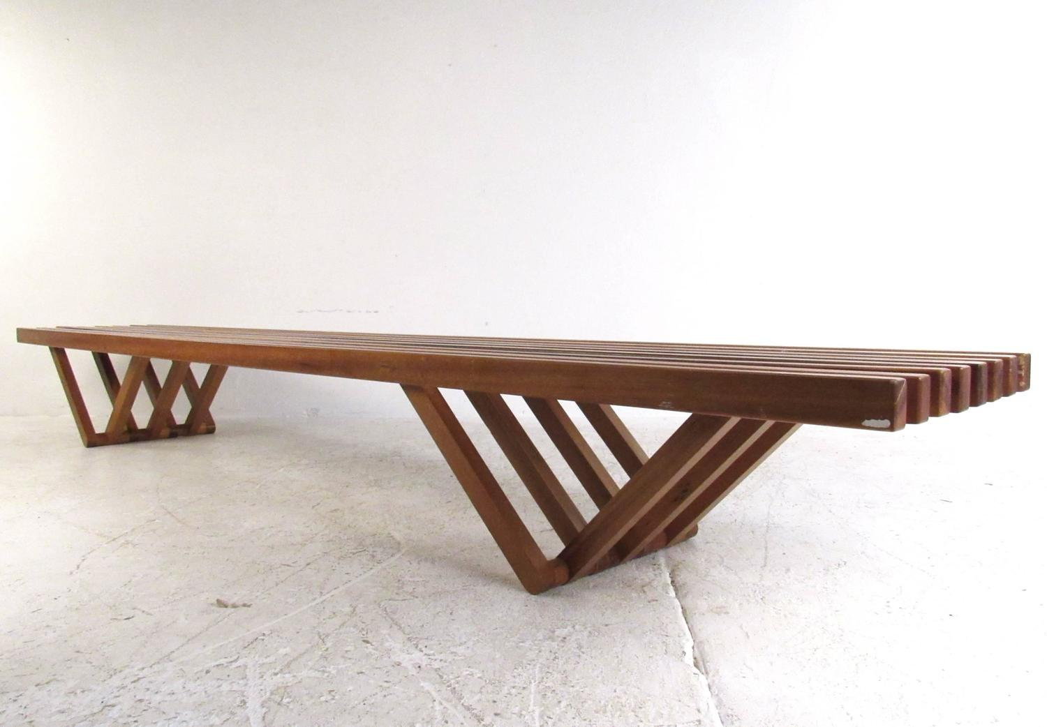 Rare mid century modern slat bench coffee table at 1stdibs Mid century coffee tables
