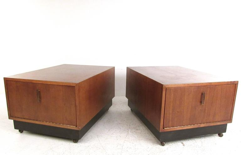 Pair Of Mid-Century End Table's With Drop Front Storage