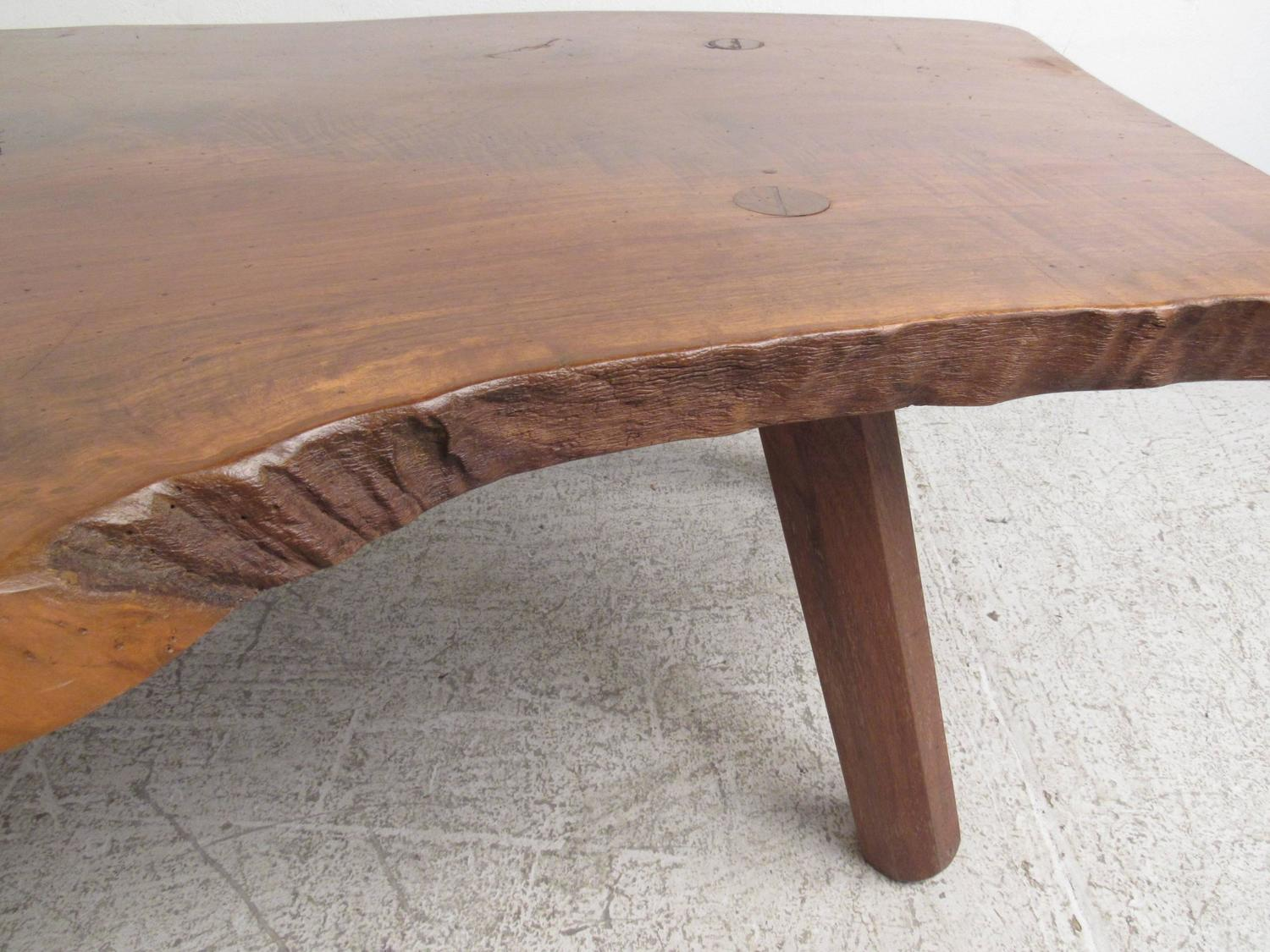 Vintage Rustic Tree Slab Free Edge Coffee Table For Sale At 1stdibs