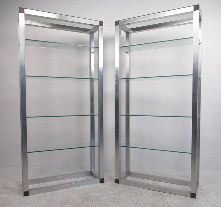 Pair of mid century etageres vintage aluminum display shelf for sale at 1stdibs - Etagere aluminium design ...