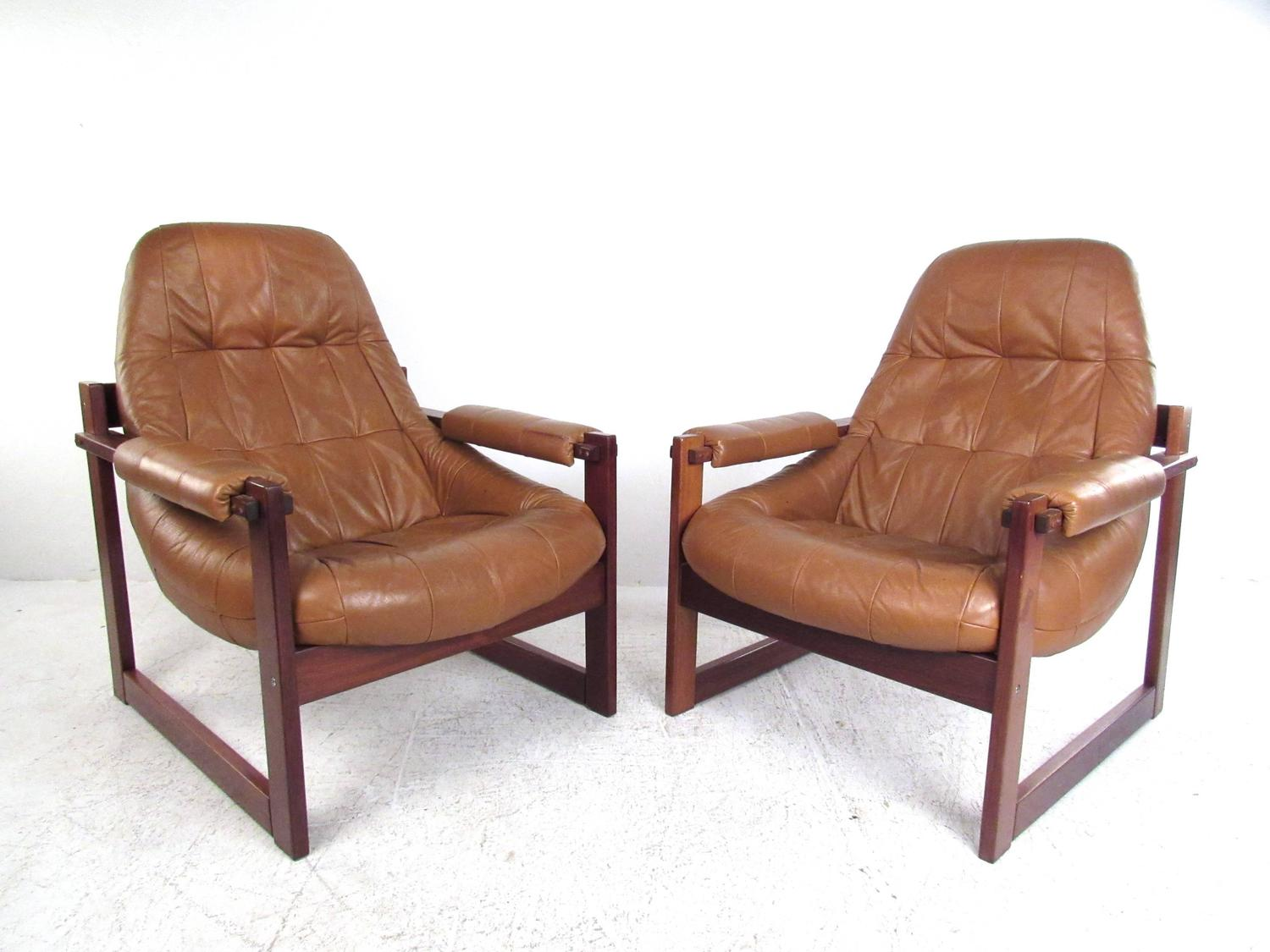 Pair Of Vintage Leather Sled Leg Lounge Chairs By Percival Lafer At . Full resolution‎  portraiture, nominally Width 1500 Height 1125 pixels, portraiture with #8D5B3E.
