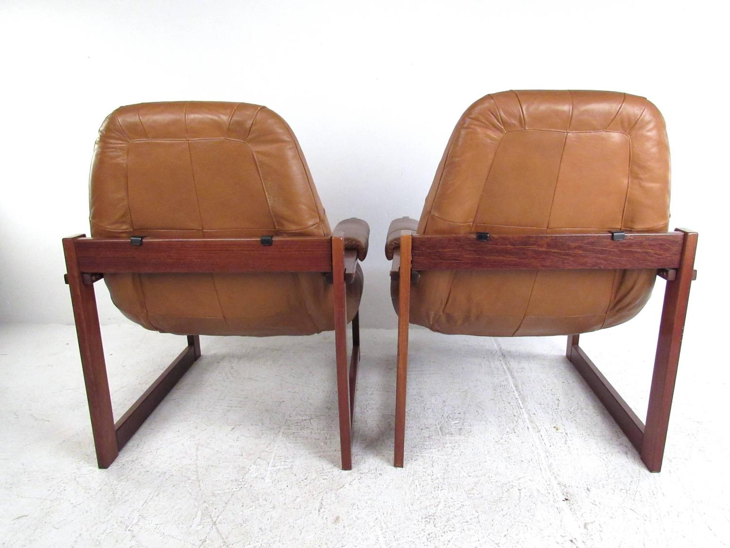 Pair Of Vintage Leather Sled Leg Lounge Chairs By Percival Lafer At . Full resolution‎  portraiture, nominally Width 1500 Height 1125 pixels, portraiture with #905C3B.