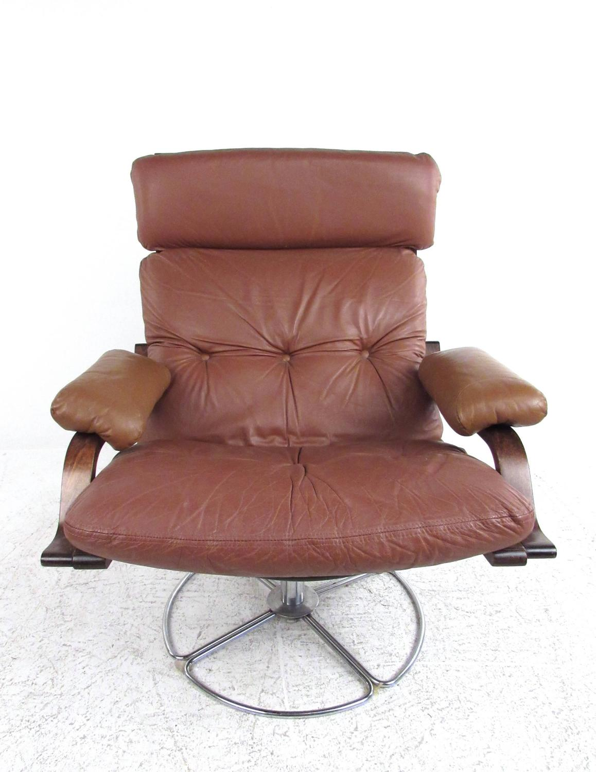 vintage leather westnofa style swivel lounge chair with ottoman at