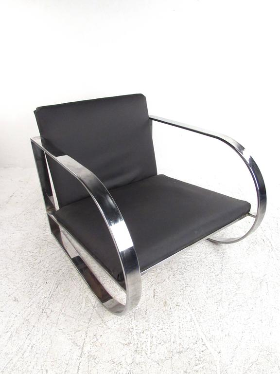 Mid-Century Modern Vintage Modern Chrome Frame Lounge Chair For Sale