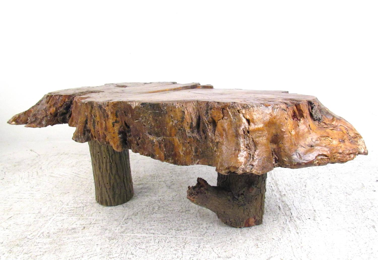 vintage rustic free edge coffee table natural wood slab With rustic wood coffee table for sale