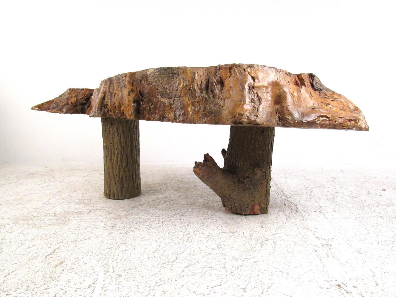 Vintage Rustic Free Edge Coffee Table Natural Wood Slab For Sale At 1stdibs