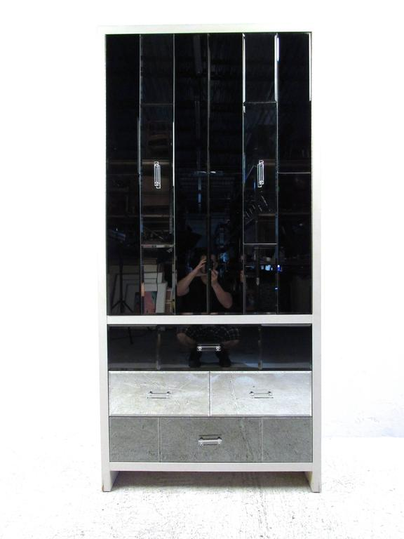This Unique Beveled Glass Armoire Features Stylish Lucite Handles, Mirrored  Finish And Plenty Of Interior