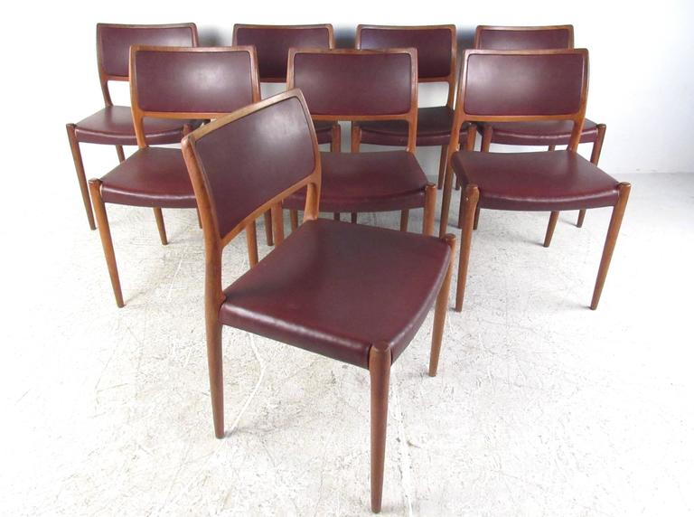 This Beautiful Vintage Dining Set Features Eight Model 80 Dining Chairs By  Niels Moller For JL