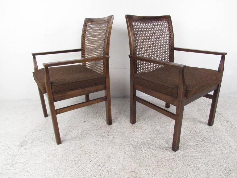 Set of Six Mid Century Modern Cane Back Dining Chairs by