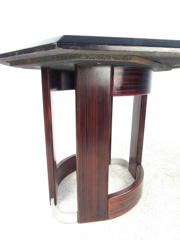 Mid-Century Italian Pedestal Table with Artistic Metal Top In Good Condition For Sale In Brooklyn, NY