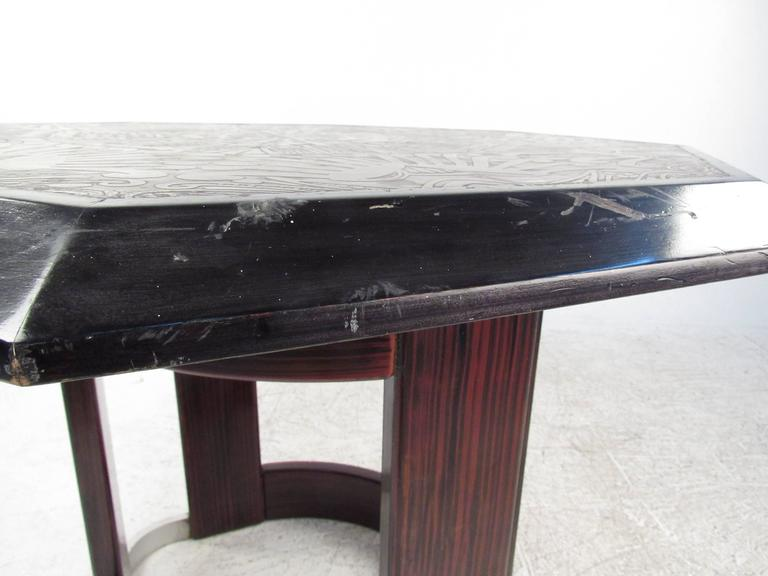 Mid-Century Italian Pedestal Table with Artistic Metal Top For Sale 3