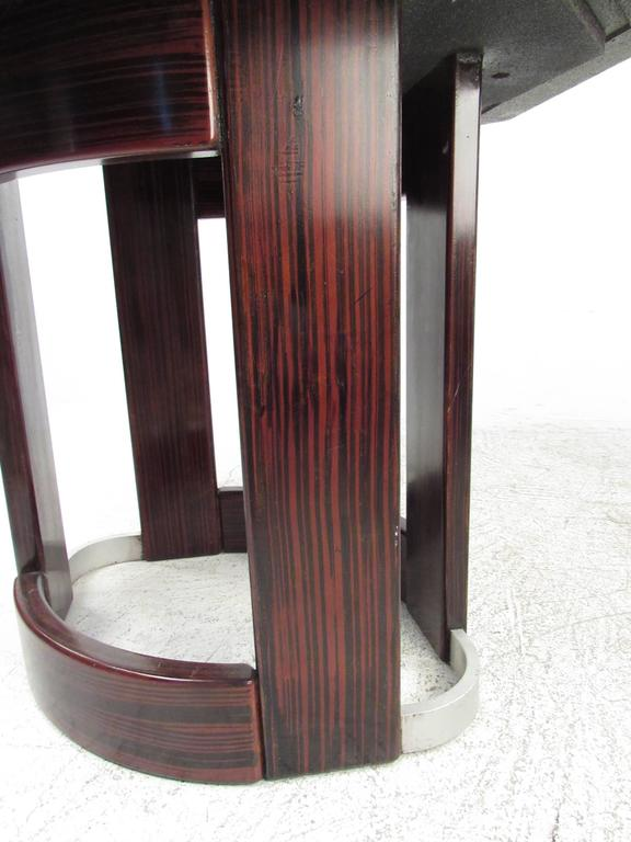 Mid-Century Italian Pedestal Table with Artistic Metal Top For Sale 2