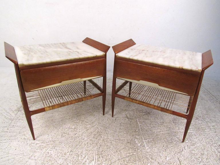 pair of mid-century modern italian nightstands with marble tops at Marble Top Nightstand