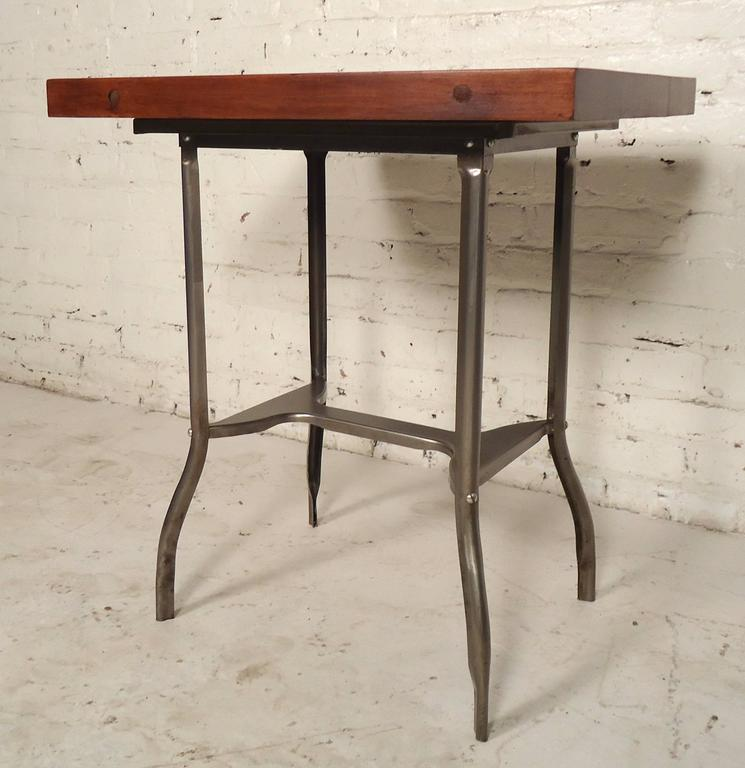 Small industrial metal wood top table for sale at 1stdibs for Small industrial coffee table