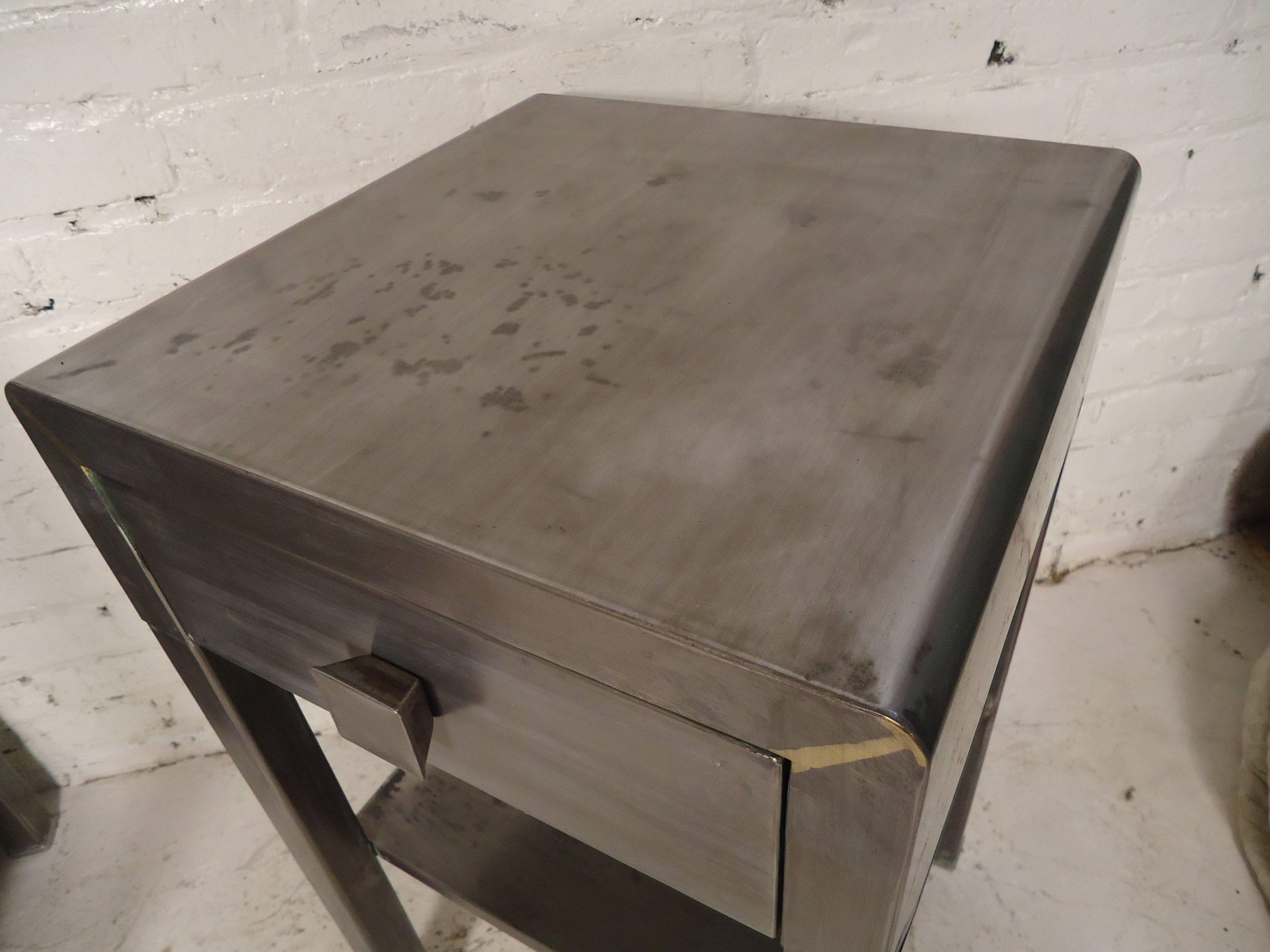 vintage industrial simmons metal side table. Vintage Industrial Simmons Metal Side Table I
