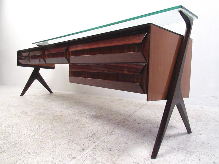 Mid-Century Modern Italian Modern Glass Top Sideboard in the Style of Paolo Buffa For Sale