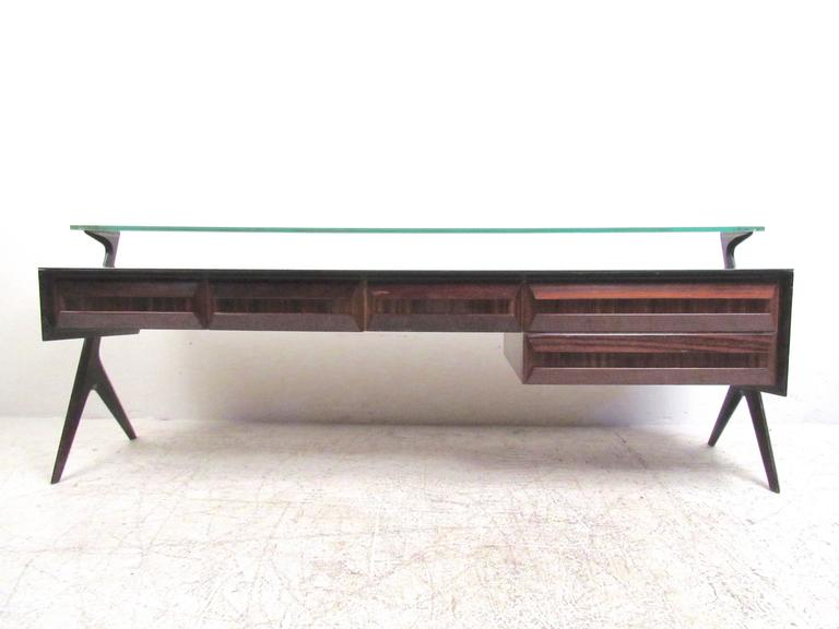 Italian Modern Glass Top Sideboard in the Style of Paolo Buffa In Good Condition For Sale In Brooklyn, NY