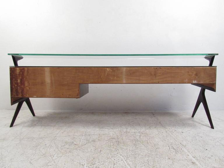 Italian Modern Glass Top Sideboard in the Style of Paolo Buffa For Sale 1