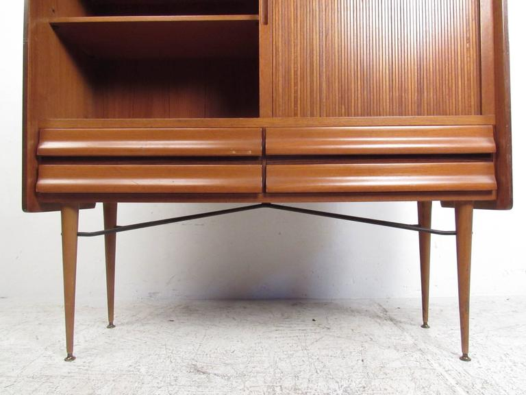 Tall Mid-Century Scandinavian Modern Tambour Cabinet In Good Condition For Sale In Brooklyn, NY