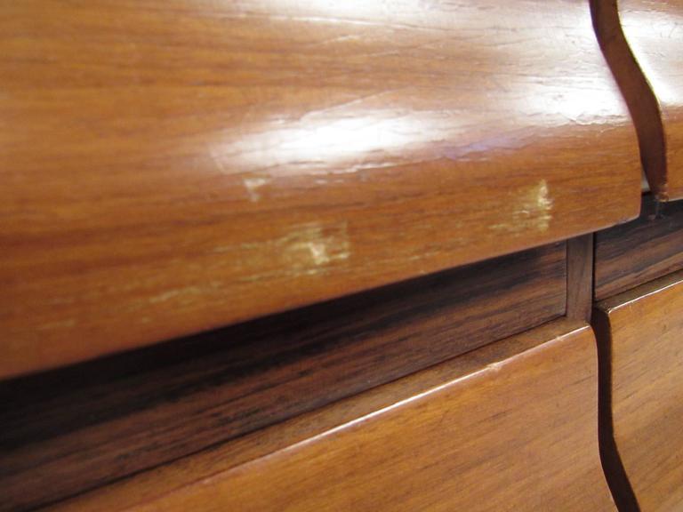Tall Mid-Century Scandinavian Modern Tambour Cabinet For Sale 1