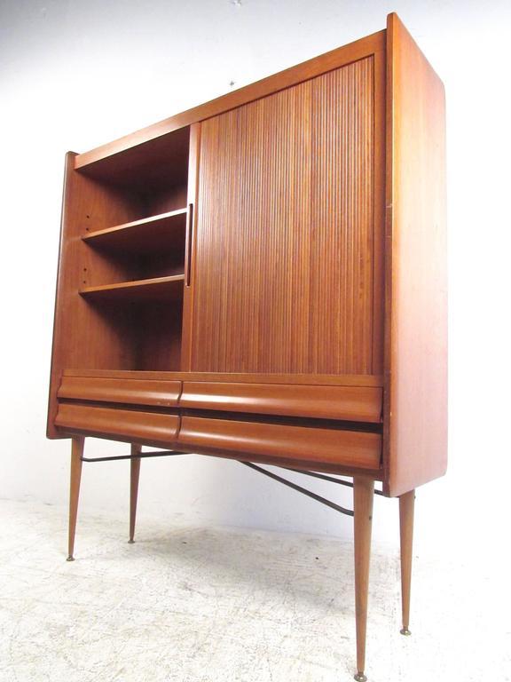 Mid-Century Modern Tall Mid-Century Scandinavian Modern Tambour Cabinet For Sale