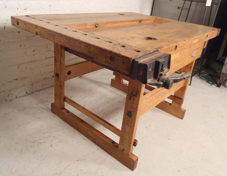 vintage work bench with vice for sale at 1stdibs. Black Bedroom Furniture Sets. Home Design Ideas