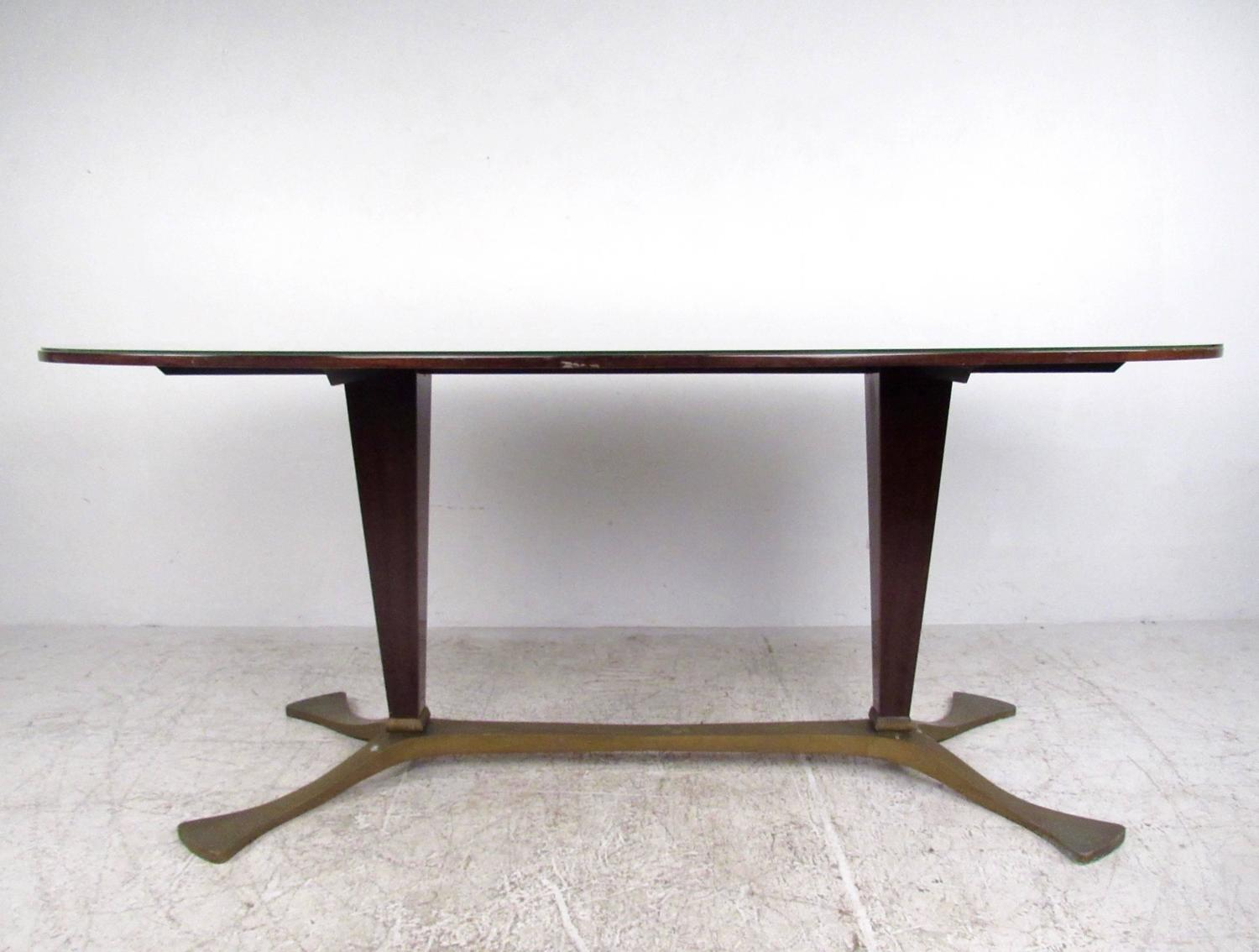Elegant italian glass top dining table 1950s for sale at for Fancy glass dining table