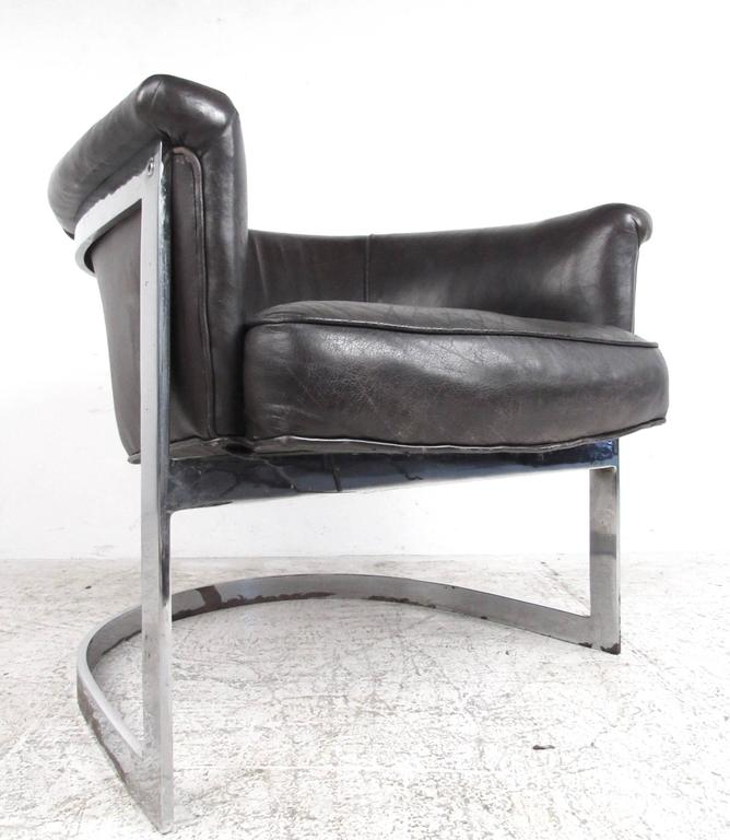 Mid Century Modern Mid Century Cantilever Leather Barrel Chair In The  Manner Of Milo