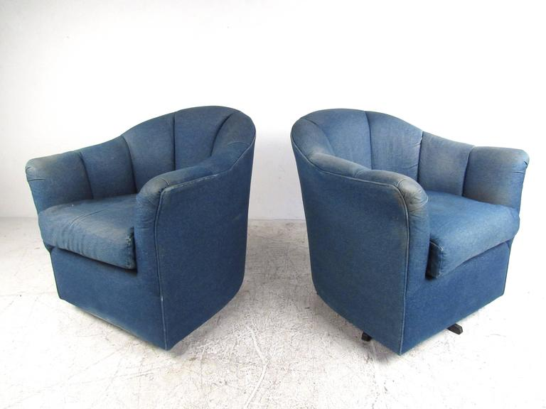 Mid-Century Modern Pair of Mid-Century Style Swivel Denim Lounge Chairs For Sale