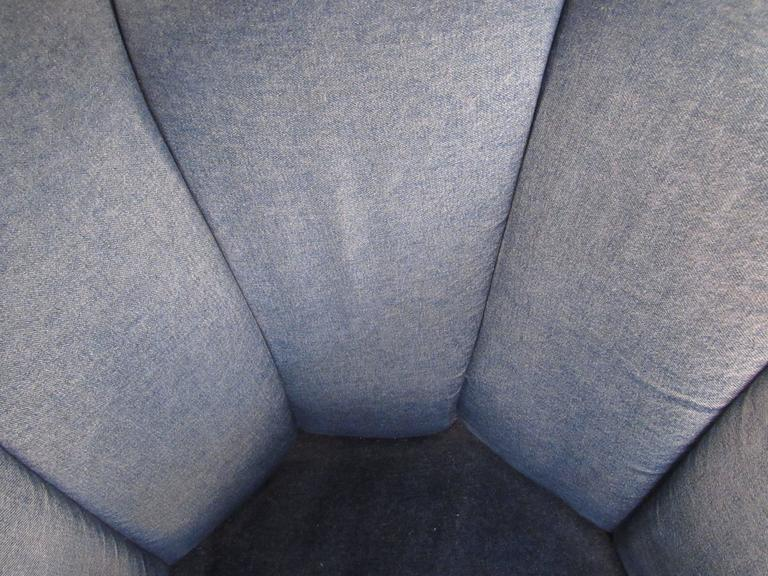 Pair of Mid-Century Style Swivel Denim Lounge Chairs For Sale 3
