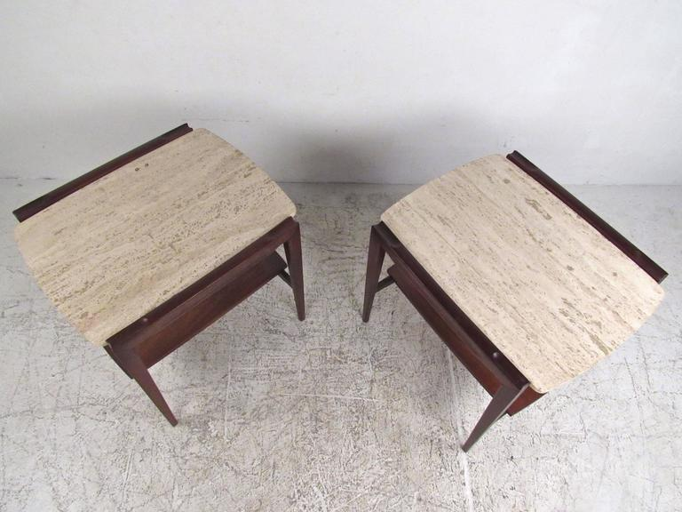 Pair of Mid-Century Modern Marble-Top End Tables In Good Condition For Sale In Brooklyn, NY