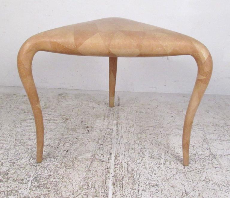 Mid-Century Modern Organic Modern R & Y Augousti Tessellated Bone End Table For Sale