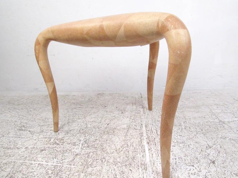 Late 20th Century Organic Modern R & Y Augousti Tessellated Bone End Table For Sale