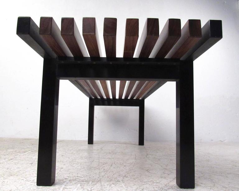 Mid-20th Century Unique Mid-Century Modern Slat Bench Coffee Table For Sale
