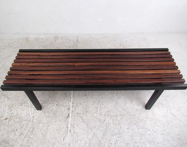 Unique Mid-Century Modern Slat Bench Coffee Table In Good Condition For Sale In Brooklyn, NY