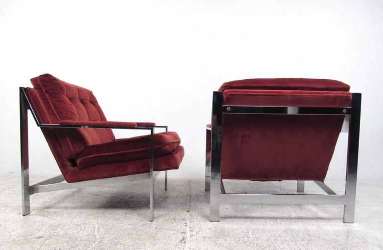 American Pair Cy Mann Style Chrome Lounge Chairs For Sale