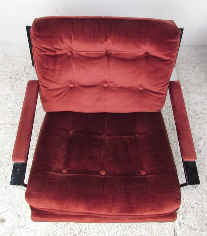 Pair Cy Mann Style Chrome Lounge Chairs In Good Condition For Sale In Brooklyn, NY
