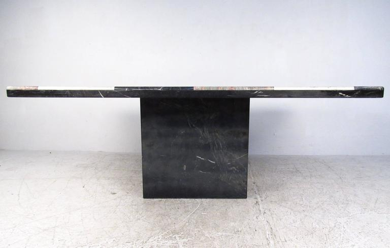 20th Century Vintage Italian Marble Top Pedestal Table For Sale
