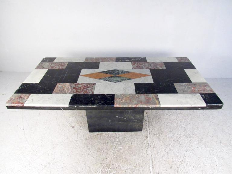 Vintage Italian Marble Top Pedestal Table For Sale 1