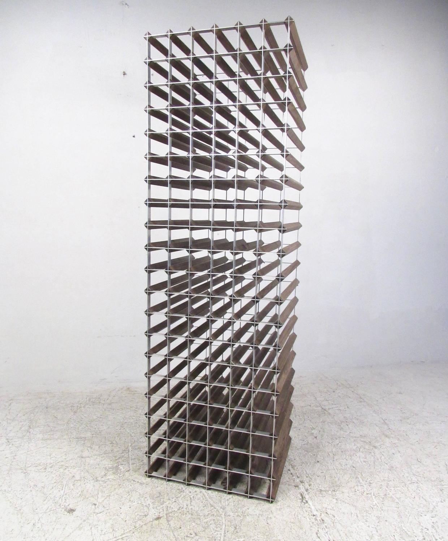 Stylish Mid Century Modern Style Wood And Metal Wine Rack