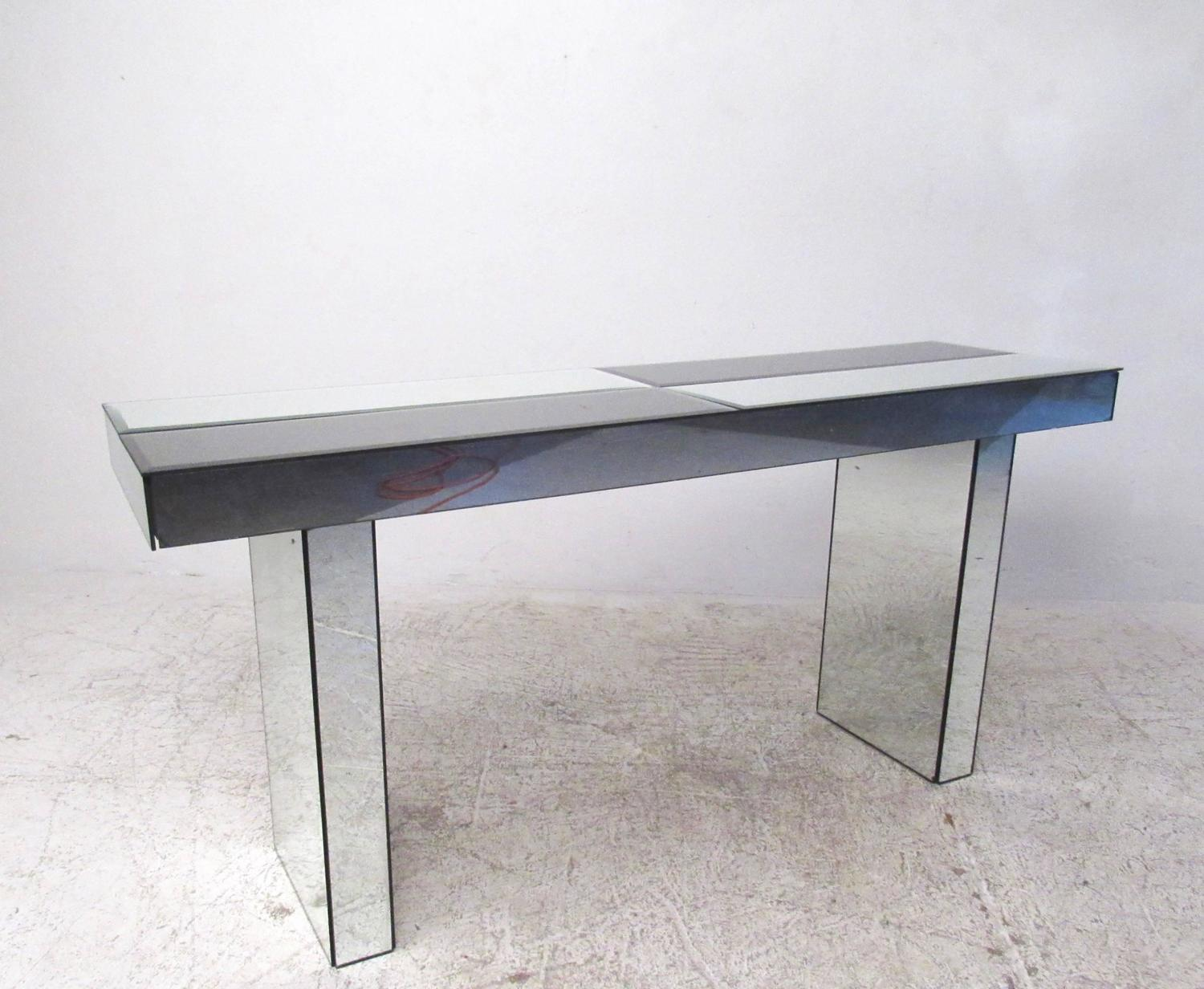 Mid century modern mirrored console table for sale at 1stdibs - Modern console table with mirror ...