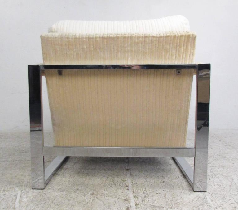 Mid-Century Modern Milo Baughman Style Chrome Lounge Chair For Sale 1